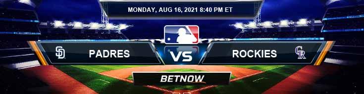 San Diego Padres vs Colorado Rockies 08-16-2021 Betting Picks Predictions and MLB Preview