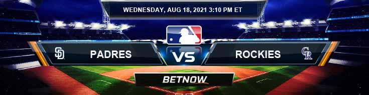 San Diego Padres vs Colorado Rockies 08-18-2021 Odds Betting Picks and Predictions