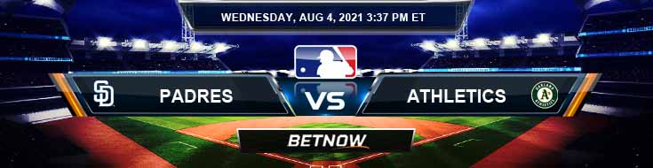 San Diego Padres vs Oakland Athletics 08-04-2021 Forecast Analysis and Odds