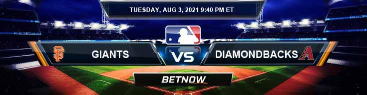 San Francisco Giants vs Arizona Diamondbacks 08-03-2021 Baseball Tips Forecast and Analysis