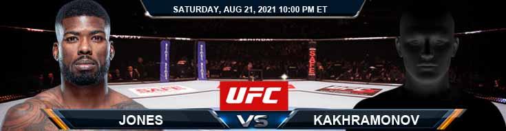 UFC ON ESPN 29 Jones vs Kakhramonov 08-21-2021 Previews Spread and Fight Analysis