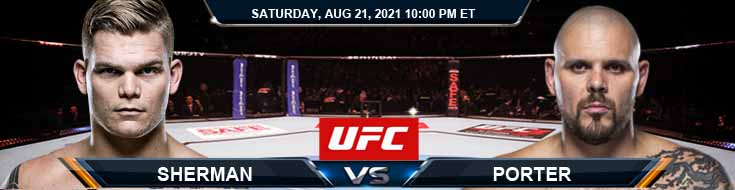 UFC ON ESPN 29 Sherman vs Porter 08-21-2021 Predictions Previews and Spread