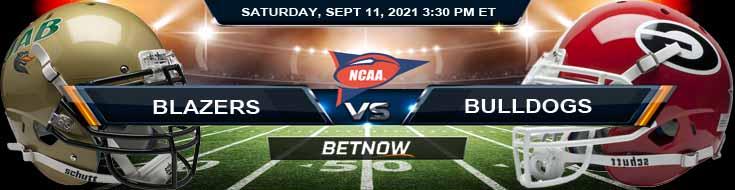 A NCAA Football Game Between UAB Blazers vs Georgia Bulldogs 09-11-2021 Game Odds for NCAAF 2021