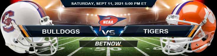 Analysis NCAAF 2021 Betting Picks Week 2's Game Between SC State Bulldogs vs Clemson Tigers 09-11-2021 in David Booth Kansas Memorial Stadium