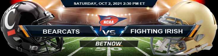 Best College Football Spread for Week 5 Cincinnati Bearcats vs Notre Dame Fighting Irish 10-02-2021