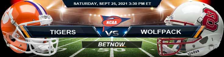 Best NCAA Football Spread Clemson vs NC State 09-25-2021 at Carter-Finley Stadium