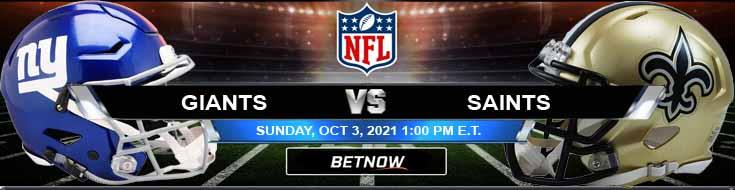 BetNow's Best Betting Forecast for Sunday's New York Giants vs New Orleans Saints 10-03-2021 Match