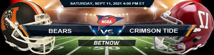Betting Odds Between Mercer Bears vs Alabama Crimson Tide 09-11-2021 for NCAAF 2021
