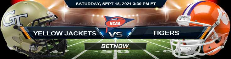 Betting Spread for the Yellow Jackets and Tigers 09-18-2021 NCAA Football Match for Week 3