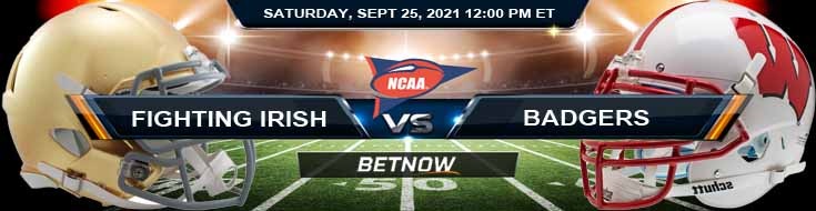 College Football Best Betting Tips on Notre Dame Fighting Irish vs Wisconsin Badgers 09-25-2021 NCAAF Match