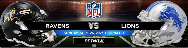 Football Betting Spread for Week 3 Ravens and Lions 09-26-2021 Battle