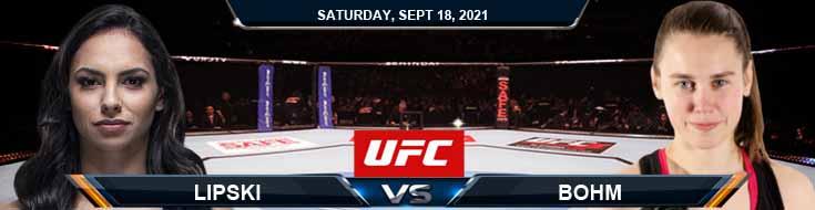 UFC Fight Night 192 Lipski vs Bohm 09-18-2021 Predictions Previews and Spread
