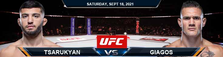 UFC Fight Night 192 Tsarukyan vs Giagos 09-18-2021 Previews Fight Spread and Analysis