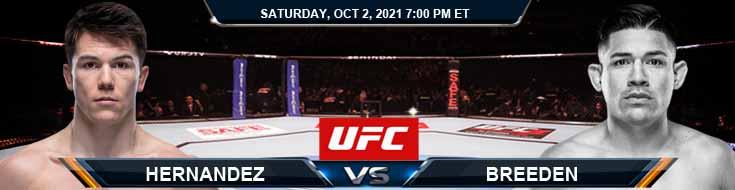 UFC Fight Night 193 Hernandez vs Breeden 10-02-2021 Analysis Fight Forecast and Tips