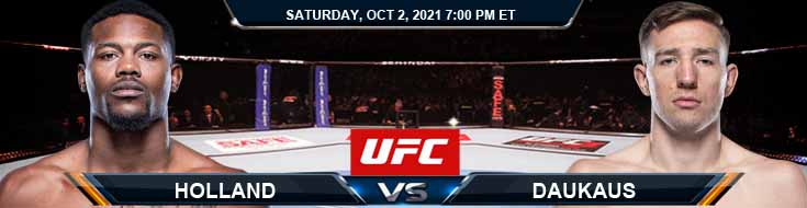 UFC Fight Night 193 Holland vs Daukaus 10-02-2021 Picks Betting Predictions and Previews