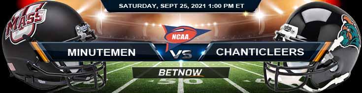 UMass Minutemen vs Coastal Carolina Chanticleers 09-25-2021 Best College Football Picks for Week 4
