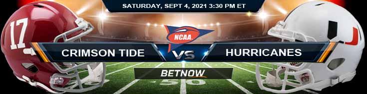Week 1 Analysis for NCAAF Game Between Alabama vs Miami-FL 09-04-2021 at Mercedes-Benz Stadium