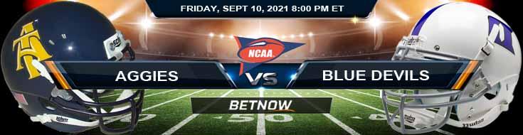 Week 2's College Football Betting on the North Carolina A&T Aggies vs Duke Blue Devils 09-10-2021 Game