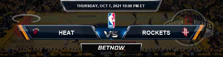 Miami Heat vs Houston Rockets 10-7-2021 Spread Picks and Game Analysis