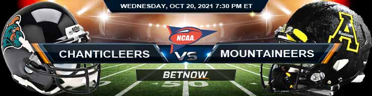 NCAA Football 2021 Betting Odds for the Game Between Coastal Carolina and Appalachian State 10-20-2021