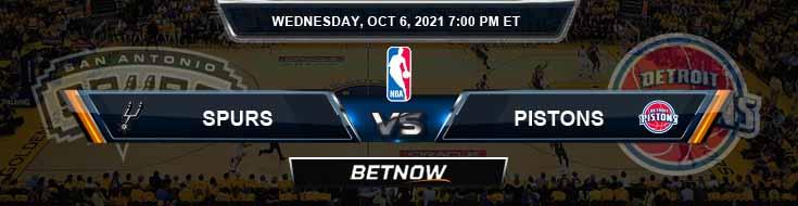 San Antonio Spurs vs Detroit Pistons 10-6-2021 Odds Picks and Previews