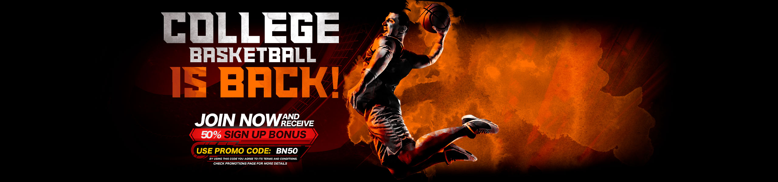 Bet on College Basketball NCAA 50% Bonus
