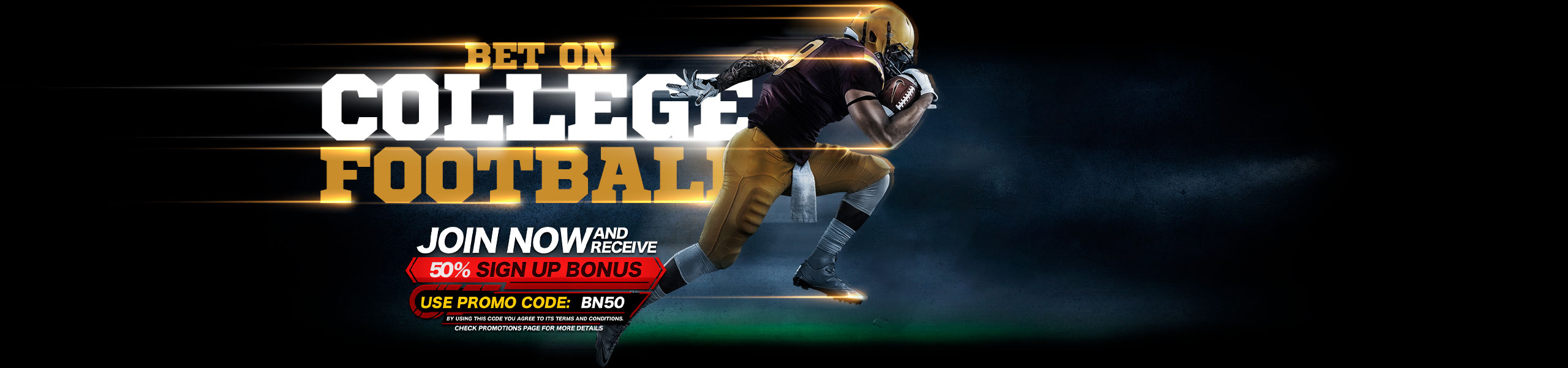 Bet on College Footabll NCAA 50% Bonus