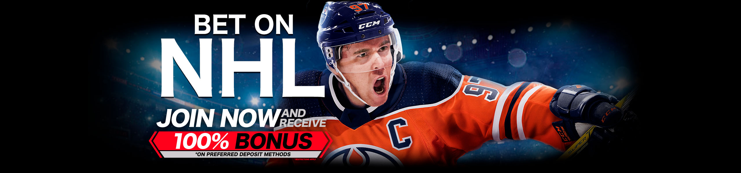 Bet on NHL 2018 100% Bonus