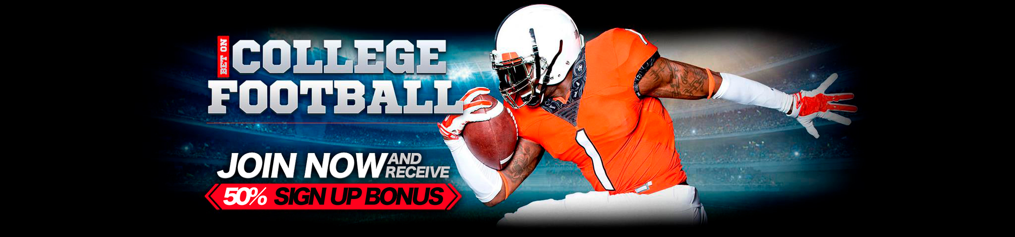 College Football Finally Here 50% Bonus
